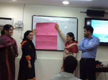 Presentation of ideas about customer service by participants from J&K Bank, Srinagar